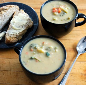 snow day soup and bread