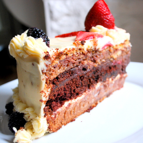 upright strawberry cake slice