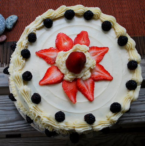 overhead strawberry cake